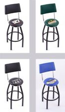 Choose Gambling Poker Logo L8B4 Black Single-Ring Swivel Bar Stool w/ Seat Back