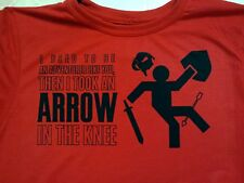 Skyrim arrow in the knee I used to be an Adventurer T-Shirt Tee Shirt Free Ship!