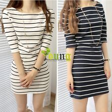 New Women Scoop Neck Striped Half Sleeve Over Hip Slim One-piece Mini Dres vsto