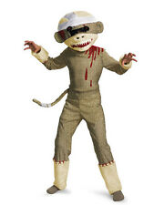 Boys Zombie Sock Monkey Costume Halloween Suit Animal Funny Bloody Monster Fangs