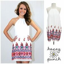 "HONEY PUNCH ""Kylie"" White Vintage PAISLEY Embroidered BOHO Halter Dress $78 USA"
