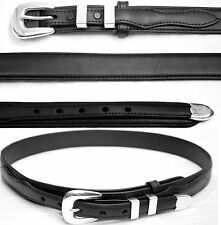 Black Ranger Belt by BWP Simple Brass Buckle Set with snaps belts Leather 7767bk