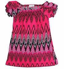 **NEW** Girl's Abstract Zig Zag Babydoll Top/ Dress In Hot Pink.  2-7 yo Sizes