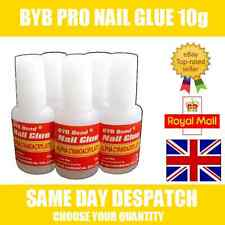 BYB 10g PRO NAIL ART GLUE & BRUSH STRONG ADHESIVE - ACRYLIC FALSE FAKE NAIL GLUE
