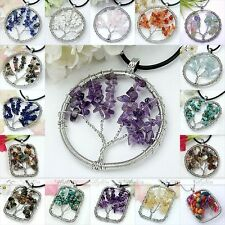 Handmade Natural Gemstone Chips Wire Wrap Life-Tree Bead Pendant for Necklace