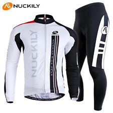 Nuc Bike Long Sleeve Clothing Bicycle Sports Wear Jersey Cycling Pants Set White