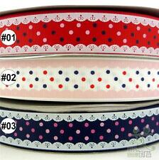 "25mm(1"") mixed red/white/blue dots grosgrain ribbon lot bow 5/50/100yards U pick"