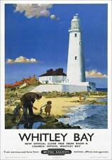 Whitley Bay Tyne & Wear St Marys Lighthouse. BR Vintage Travel Poster by F Blake