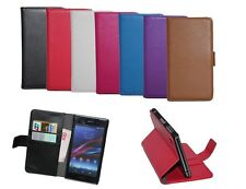 Folio Flip Wallet Leather Card Holder Stand Hard Case Cover Pouch For Sony Phone