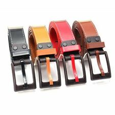 Unisex Waist Belt Women Men Faux Leather Plastic Buckle Waistband Strap Belts