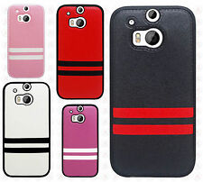 For HTC One M8 TPU STRIPES CANDY Gel Flexi Skin Case Cover Accessory