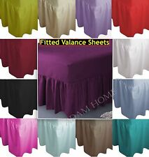 Plain Dyed Frilled Poly Cotton Fitted Valance Bed Sheet Single, Double, King