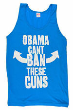 Obama Can't Ban these Guns  NEON BLUE Tank Top T Shirt American Apparel Crossfit