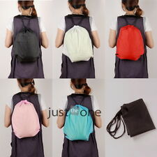 Unisex Nylon Sport Drawstring Bag Book Shoe Clothes Travel Backpack lightweight