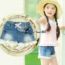 Summer Baby Korean Girl Child Kids Princess Lace Short Jeans Pants Trousers 2-7Y
