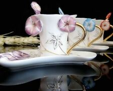 Stunning Coffee Tea Set Porcelain Mulcolor Saucer Spoon Cup Lover Gift Furniture