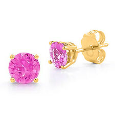 14K Solid SOLID YELLOW GOLD OCTOBER PINK SAPPHIRE ROUND CUT STUD EARRINGS PUSH