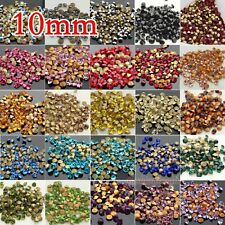 72pcs 10MM faceted Crystal glass Rhinestones Pointed Back ss45 pick color