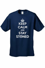 MEN'S FUNNY T-SHIRT Keep Calm and Stay Stoned WEED SMOKING POT TEE MARIJUANA