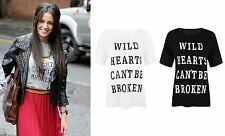 Michelle Keegan Tops Short Sleeve T Shirt Wild Hearts Can't Be Broken Print Top