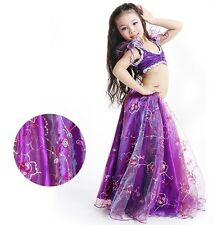 KID's 2pcs set Sequin Blouse and Yarn Skirt Belly Dance Costumes Halloween Dress