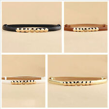 New 1x Fashion lady women Multicolor imitation  Leather  Thin Belts press design