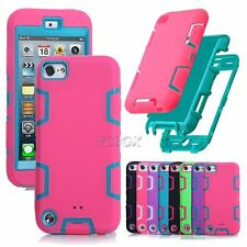 Dual Layer Hybrid Rugged Shockproof Rubber Hard Case Cover for iPod Touch 4 5