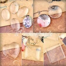 Clear Glass Cabochons Dome Flat Back Fit Cameo Settings 10/14/16/18/20/30/40mm