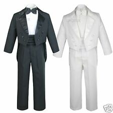 New Baby Boys Teen Baptism Wedding Formal Black or White Tail Tuxedo Suit S- 20