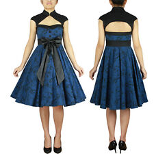 Archaize Printed Dress Blue Rock and Roll Swing Dance Pin Up Rockabilly