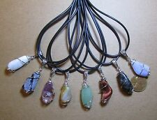 """Wholesale Lot-10 Natural Gemstone Pendants-""""Cage Wrapped"""" Tumbled Stones w/Cords"""