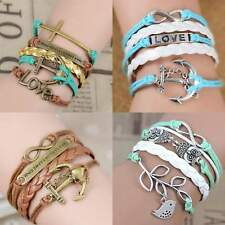 Mix Infinity Anchor Rudder Love Leather Bike Animal Cross Bracelet Couple Chain