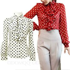 Satin Long Sleeve Top Womens Smart Blouse Polka Dot Ruffle Shirt Size 12 10 8 6