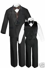 Boys Satin Shawl Lapel Suits Tuxedo EXTRA Brown Bow Tie Vest Sets Outfits S-18