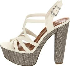 Women's Shoes Jessica Simpson CIZAL Platform Sandals Chunky Heels Leather Ivory