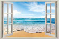 Home Decor Art Vinyl 3d Window New Beach Mural Wall Decals Removable Stickers