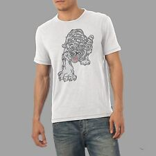 Men's Bling Tiger Rhinestone Diamante Crystal Gem T Shirt Men's Adult Size S- XL