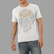 Men's Paisley Skull Rhinestone Diamante Gem Crystal T Shirt Men's Adult Sz S-XL
