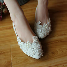 Women's sweet Flat shoes lace&Rhinestone Wedding shoes bride&bridesmaid Sandals