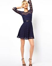 ♥New ASOS Navy Blue Belted Lace Skater Dress Size 4 6 8 10 12 14 16 18 RRP £28♥
