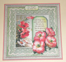Handmade Greeting Card 3D Sympathy With Flowers And Sentiment