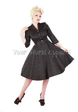 BLACK WHITE POLKA DOT 3/4 SLEEVE DRESS PINUP SWING 1950s HOUSEWIFE VINTAGE 4001