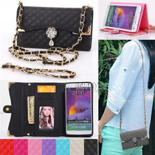 Bling Diamond Magnetic Leather Handbag Wallet Case For Samsung Galaxy and iPhone