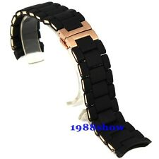 New 20 23mm Black Silicone Stainless Steel Bracelet Watch Band Replacement Strap