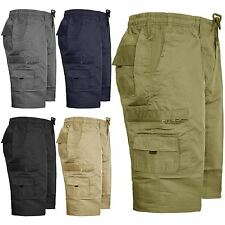 MENS CARGO COMBAT PLAIN LONG SHORTS ELASTICATED WAIST SUMMER POLYCOTTON SZ 30-40