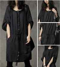 Casual English style Loose Fit Scoop Neck Autum & Spring Shirt Dress for Women