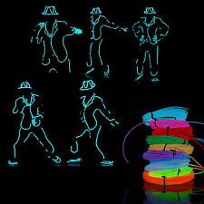Neon Light Glow LED EL Wire Rope Tube Car Dance DJ Party Bar Decor w/ Controller