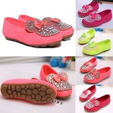 2014 NEW Cute Kid Toddler Girl Bling Rhinestone Bow Soft Flat Slip Sneaker Shoes