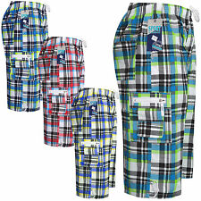 NEW MENS BOYS LONG CARGO COMBAT CHECK SUMMER BEACH SURF BOARD SWIM SHORTS S-3XL