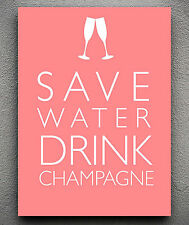 SAVE WATER CANVAS DRINK CHAMPAGNE TYPOGRAPHY WALL ART PRINT PICTURE ALL SIZES